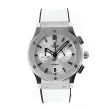 Replique Hublot Big Bang travail Chronographe avec cadran argenté-blanc bracelet en cuir - Attractive Hublot Big Bang Montre pour vous 29715