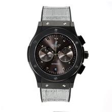 Replique Hublot Big Bang travail Chronographe PVD affaire avec bracelet en cuir noir Cadran Café-Grey - Attractive Hublot Big Bang Montre pour vous 29713