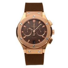Replique Hublot Big Bang chronographe de travail boîtier en or rose avec bracelet en caoutchouc café Dial-café - Attractive Hublot Big Bang Montre pour vous 29676
