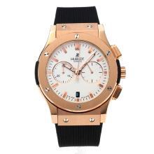 Replique Hublot Big Bang chronographe de travail boîtier en or rose avec bracelet en caoutchouc Cadran Blanc-Noir - Attractive Hublot Big Bang Montre pour vous 29675