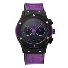 Replique Hublot Big Bang travail Chronographe PVD affaire avec bracelet en caoutchouc noir Cadran-Purple - Attractive Hublot Big Bang Montre pour vous 29674