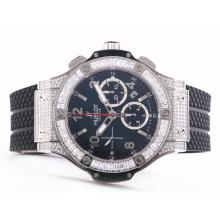 Replique Hublot Big Bang chronographe suisse Valjoux 7750 Mouvement avec étui Full Diamond - Attractive Hublot Big Bang Montre pour vous 30711