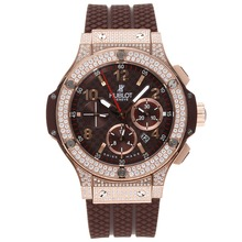 Replique Hublot Big Bang chronographe suisse Brown Valjoux 7750 Mouvement-plein de diamants huppé - Attractive Hublot Big Bang Montre pour vous 30710