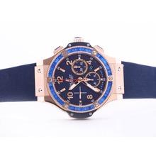 Replique Hublot Big Bang chronographe suisse Valjoux 7750 Mouvement boîtier en or rose avec lunette sertie de diamants cz Baguette - Attractive Hublot Big Bang Montre pour vous 30703
