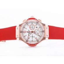 Replique Hublot Big Bang chronographe suisse Valjoux 7750 Mouvement boîtier en or rose avec lunette sertie de diamants cz Baguette - Attractive Hublot Big Bang Montre pour vous 30702