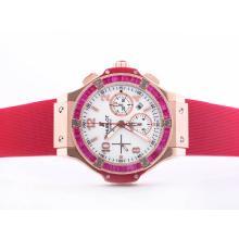Replique Hublot Big Bang chronographe suisse Valjoux 7750 Mouvement or rose Case-Rouge Lunette Ruby - Attractive Hublot Big Bang Montre pour vous 30701