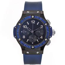 Replique Hublot Big Bang chronographe suisse Valjoux 7750 Mouvement bleu CZ Diamond Bezel-Noire complet de l'affaire Céramique - Attractive Hublot Big Bang Montre pour vous 30652