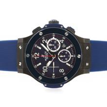 Replique Hublot Big Bang chronographe suisse Valjoux 7750 Mouvement PVD affaire avec cadran bleu et bracelet bleu-lunette en céramique - Attractive Hublot Big Bang Montre pour vous 30650