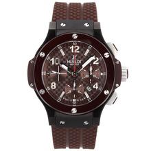 Replique Hublot Big Bang chronographe suisse Valjoux 7750 Mouvement avec cadran brun et bracelet en céramique-Valise - Attractive Hublot Big Bang Montre pour vous 30648