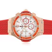 Replique Hublot Big Bang chronographe suisse Valjoux 7750 Mouvement orange CZ Diamond Bezel-Full boîtier en or rose en céramique - Attractive Hublot Big Bang Montre pour vous 30647