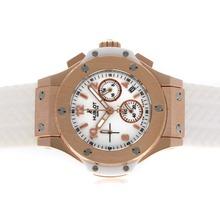 Replique Hublot Big Bang chronographe de travail boîtier en or rose avec cadran blanc et bracelet-verre de saphir - Attractive Hublot Big Bang Montre pour vous 30636