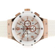 Replique Hublot Big Bang King-Chronographe en or rose avec cadran blanc-Lunette Céramique - Attractive Hublot Big Bang King montre pour vous 30621