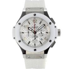 Replique Hublot Big Bang King travail Chronographe avec style fibre de carbone cadran blanc-Lunette Céramique - Attractive Hublot Big Bang King montre pour vous 30620