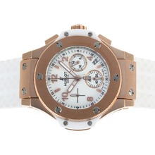 Replique Hublot Big Bang chronographe de travail boîtier en or rose avec cadran blanc et bracelet en caoutchouc-Taille-Dame - Attractive Hublot Big Bang Montre pour vous 30611