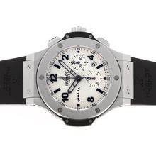 Replique Hublot Big Bang Wally chronographe suisse Valjoux 7750 Mouvement avec cadran blanc-bracelet en caoutchouc - Attractive Hublot Big Bang Montre pour vous 30587
