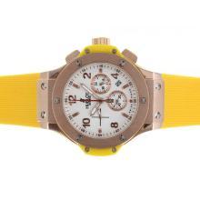 Replique Hublot Big Bang chronographe de travail rose Cadran en or blanc avec bracelet jaune - Attractive Hublot Big Bang Montre pour vous 30577