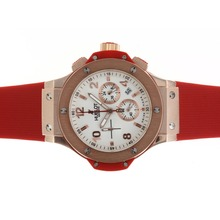 Replique Hublot Big Bang chronographe de travail rose Cadran en or blanc avec bracelet rouge - Belle Montre Hublot Big Bang pour vous 30575