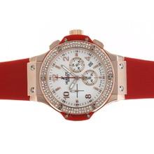 Replique Hublot Big Bang chronographe en or rose de travail cadran blanc diamant lunette cas avec bracelet rouge - Belle Montre Hublot Big Bang pour vous 30574