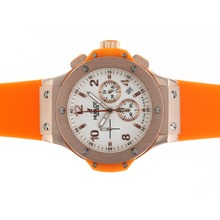 Replique Hublot Big Bang chronographe de travail rose Cadran en or blanc avec sangle orange - Attractive Hublot Big Bang Montre pour vous 30573