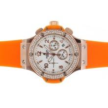 Replique Hublot Big Bang chronographe en or rose de travail cadran blanc diamant lunette cas avec sangle orange - Attractive Hublot Big Bang Montre pour vous 30572