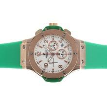 Replique Hublot Big Bang chronographe de travail rose Cadran en or blanc avec bracelet vert - Attractive Hublot Big Bang Montre pour vous 30571