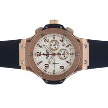 Replique Hublot Big Bang chronographe de travail rose Cadran Boîtier en or blanc avec bracelet noir - Attractive Hublot Big Bang Montre pour vous 30569