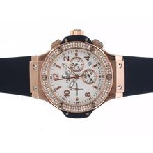 Replique Hublot Big Bang chronographe en or rose de travail cadran blanc diamant lunette cas avec bracelet bleu - Attractive Hublot Big Bang Montre pour vous 30568