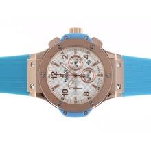 Replique Hublot Big Bang chronographe en or rose de travail Case Cadran Blanc Style fibre de carbone avec bande bleue - Attractive Hublot Big Bang Montre pour vous 30567
