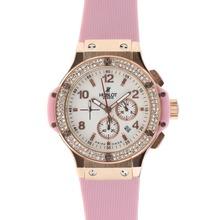 Replique Hublot Big Bang chronographe en or rose de travail cadran blanc diamant lunette cas avec bracelet rose - Attractive Hublot Big Bang Montre pour vous 30566