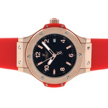 Replique Hublot Big Bang boîtier en or rose avec cadran noir bracelet gomme-Mid Rouge Taille - Attractive Hublot Big Bang Montre pour vous 30554
