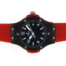 Replik Hublot Big Bang PVD Case Black Dial with Red Rubber Strap-Mid Size – Attractive Hublot Big Bang Watch for You 30544