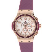 Replique Hublot Big Bang chronographe de travail boîtier en or rose pourpre cz lunette sertie de diamants Cadran blanc avec bracelet violet - Attractive Hublot Big Bang Montre pour vous 30516