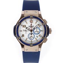 Replique Hublot Big Bang chronographe de travail boîtier en or rose bleu CZ Diamond Bezel avec cadran blanc-bracelet en caoutchouc - Attractive Hublot Big Bang Montre pour vous 30513