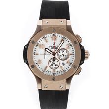 Replique Hublot Big Bang King-Chronographe en or rose avec cadran blanc-bracelet en caoutchouc - Attractive Hublot Big Bang King montre pour vous 30512