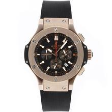 Replique Hublot Big Bang King-Chronographe en or rose avec cadran noir-Bracelet Caoutchouc - Attractive Hublot Big Bang King montre pour vous 30511