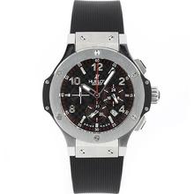 Replique Hublot Big Bang chronographe de travail avec style fibre de carbone Cadran Noir-Bracelet Caoutchouc - Attractive Hublot Big Bang Montre pour vous 30504