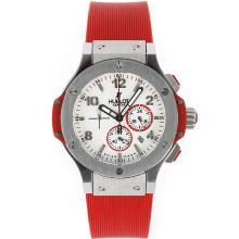 Replique Hublot Big Bang travail Chronographe avec bracelet en caoutchouc cadran blanc-orange - Attractive Hublot Big Bang Montre pour vous 30502