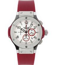 Replique Hublot Big Bang travail Chronographe avec bracelet en caoutchouc cadran blanc-rouge - Belle Montre Hublot Big Bang pour vous 30501