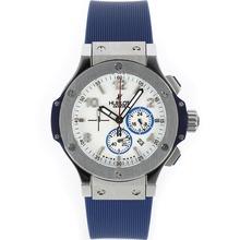 Replique Hublot Big Bang travail Chronographe avec bracelet en caoutchouc Cadran Blanc-Bleu - Attractive Hublot Big Bang Montre pour vous 30500