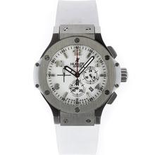 Replique Hublot Big Bang travail Chronographe avec cadran blanc et bracelet en caoutchouc - Attractive Hublot Big Bang Montre pour vous 30499