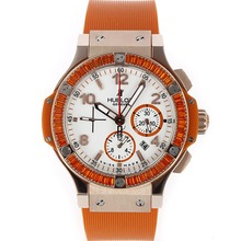 Replique Hublot Big Bang chronographe suisse Valjoux 7750 Mouvement or rose Case Orange CZ Diamond Bezel avec cadran blanc-orange Rub - Attractive Hublot Big Bang Montre pour vous 30493
