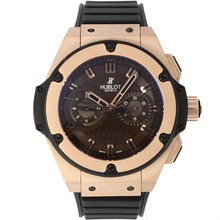 Replique Hublot Big Bang King chronographe suisse Valjoux 7750 Mouvement boîtier en or rose avec cadran brun-Rubber Strap - Attractive Hublot Big Bang King montre pour vous 30463