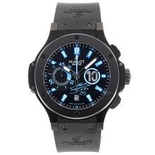 Replique Hublot Big Bang chronographe suisse Diego Maradona Valjoux 7750 Mouvement lunette en céramique noire avec des marqueurs bleus - Attractive Hublot Big Bang Montre pour vous 30461