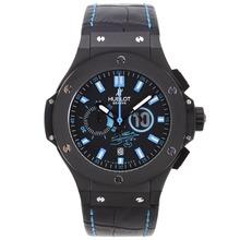 Replique Hublot Big Bang Maradona-Chronographe PVD affaire avec Blue Marqueurs-bracelet en cuir - Attractive Hublot Big Bang Montre pour vous 30460