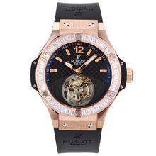 Replique Hublot Big Bang de travail Tourbillon à remontage manuel en or rose lunette sertie de diamants boîtier avec fibre de carbone Noir Style du Cadran-Caoutchouc - Attractive Hublot Big Bang Montre pour vous 30444