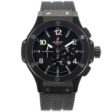 Replique Hublot Big Bang Tuiga 1909 Lunette de travail Chronographe PVD affaire en céramique avec Checkered Noir Dial Rubber Strap-- Attractive Hublot Big Bang Montre pour vous 30419