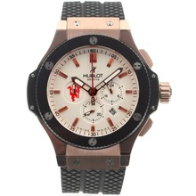 Replik Hublot Red Devil Bang Tuiga 1909 Working Chronograph Rose Case Ceramic Bezel with White Dial-Rubber Strap – Attractive Hublot Red Devil Bang Watch for You 30409