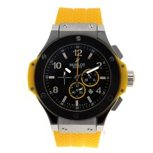 Replik Hublot Big Bang King Working Chronograph with Black Dial and Bezel-Yellow Rubber Strap – Attractive Hublot Big Bang King Watch for You 30406