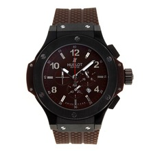Replique Hublot Big Bang King-Chronographe PVD affaire avec Carbon Fibre Brown à pattes en caoutchouc Dial-Brown - Attractive Hublot Big Bang King montre pour vous 30405