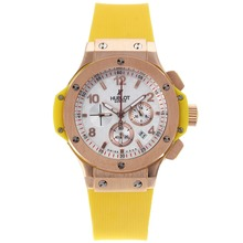 Replique Hublot Big Bang chronographe de travail boîtier en or rose blanc Checkered bracelet en caoutchouc jaune Dial-- Attractive Hublot Big Bang Montre pour Vous 30375